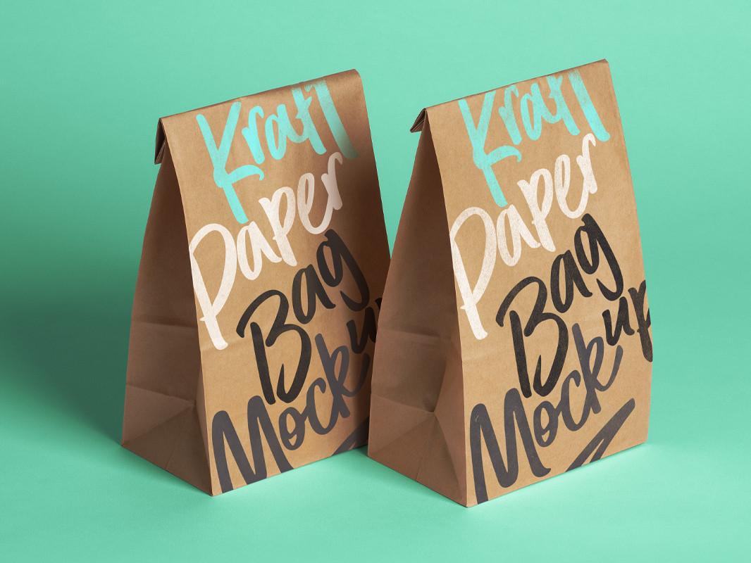 001 kraft paper bag packaging food coffee foil graphic psd mockup uai